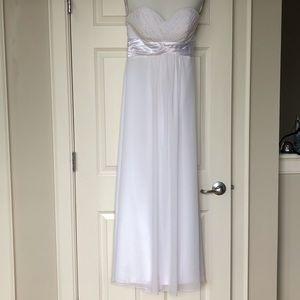 SAKS - BILL LEVKOFF white strapless silk gown